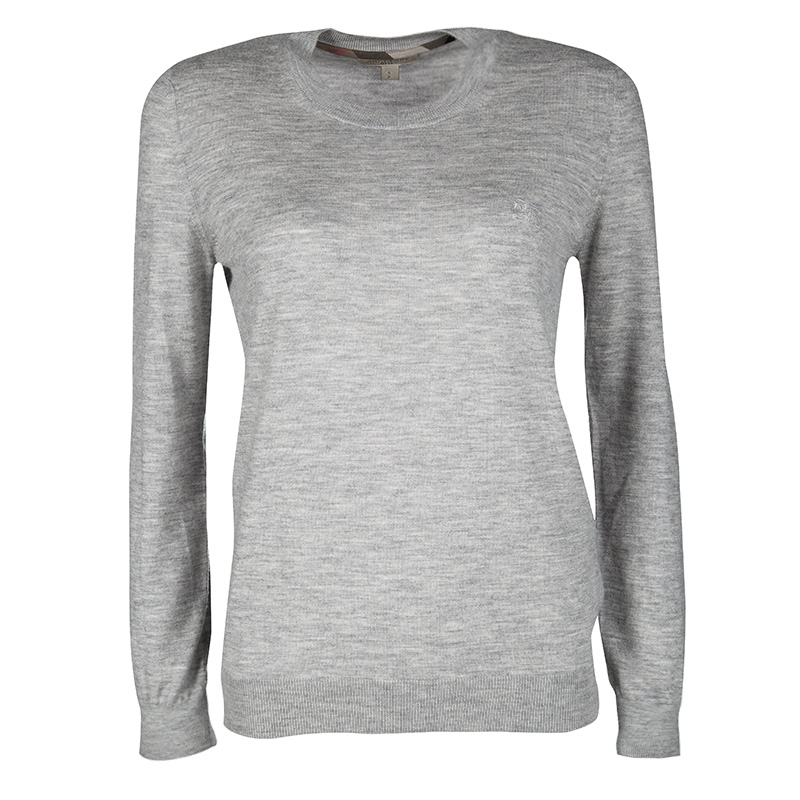 cdbdf6005ef2 Buy Burberry Brit Grey Melange Logo Embroidered Cashmere Sweater S ...