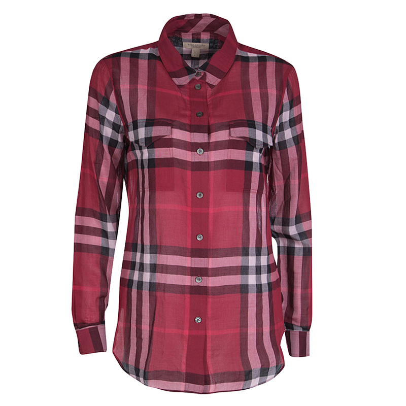 3c7f9dc0f3ed ... Burberry Brit Red Checked Cotton Voile Long Sleeve Button Front Shirt  S. nextprev. prevnext
