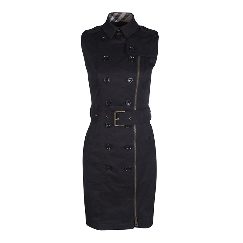 d7997cc2db2361 ... Burberry Brit Black Zip Front Belted Sleeveless Trench Dress S.  nextprev. prevnext