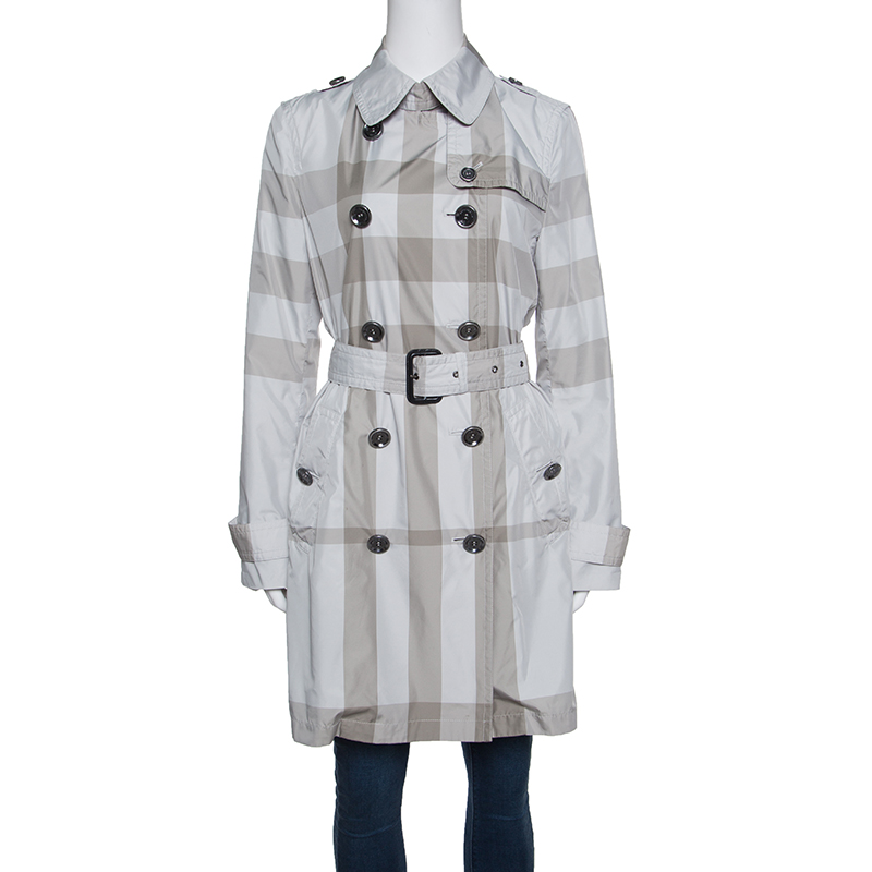 Купить со скидкой Burberry Grey Checked Short Belted Double Breasted Trench Coat M