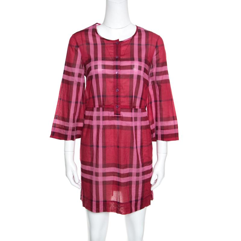 004589b0dc4 Buy Burberry Brit Red Cotton Check Long Sleeve Tunic Dress S 156622 ...