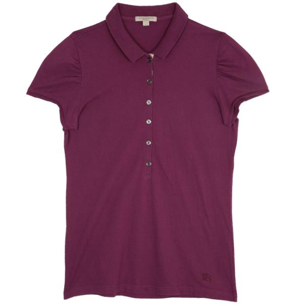 Burberry Pink Check Placket Polo Shirt L