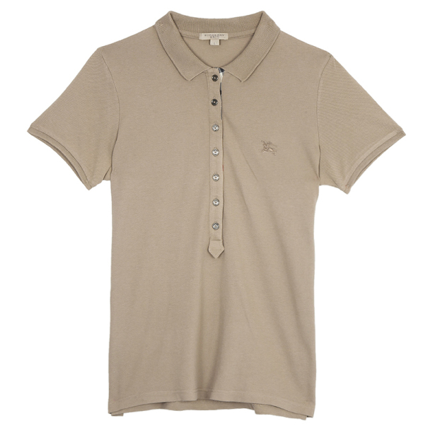 cda792667ea7 Buy Burberry Cream Check Placket Polo Shirt L 18247 at best price