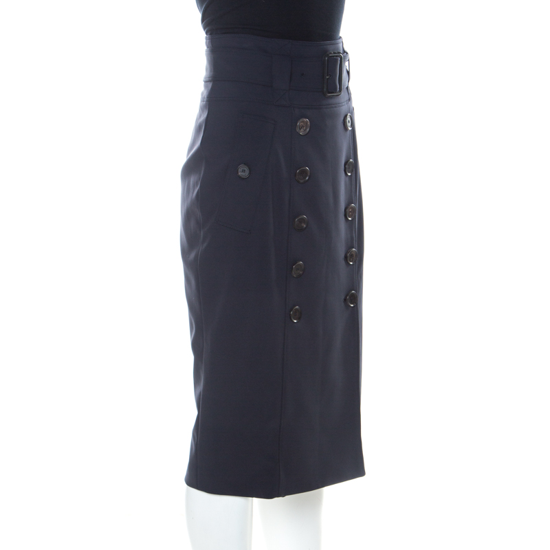 Burberry Navy Blue Stretch Crepe Button Front Trench Midi Skirt L
