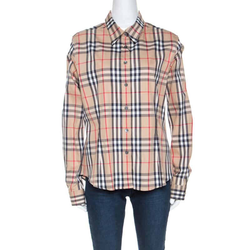 Burberry Beige Nova Check Cotton Long Sleeve Button Down Shirt XL