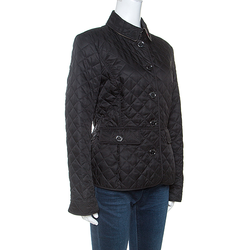 Burberry Brit Black Diamond Quilted Button Front Jacket