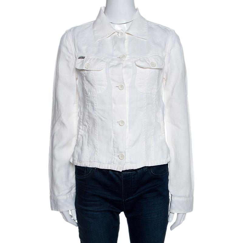 Burberry Off White Linen Pocket Detail Button Front Shirt S