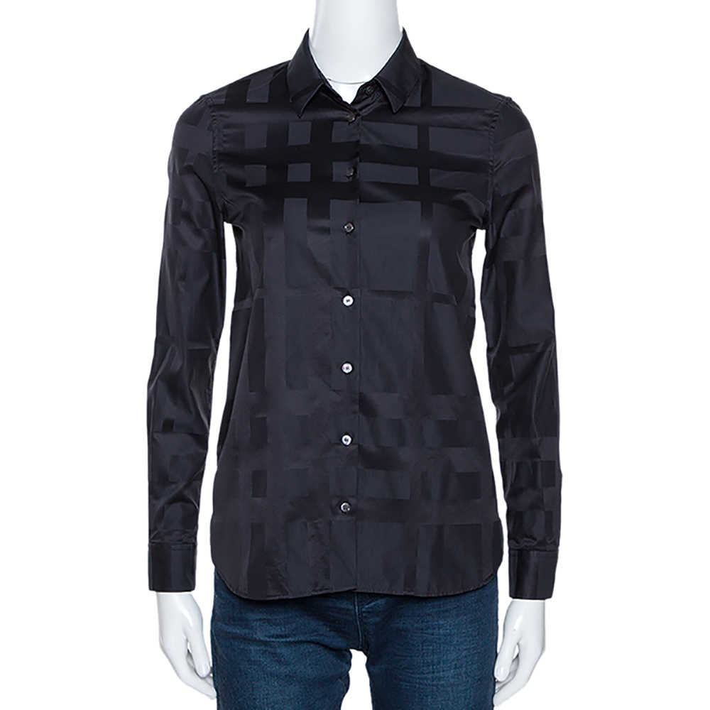 Burberry Midnight Blue Cotton Monotone Novacheck Button Front Shirt Xs In Navy Blue