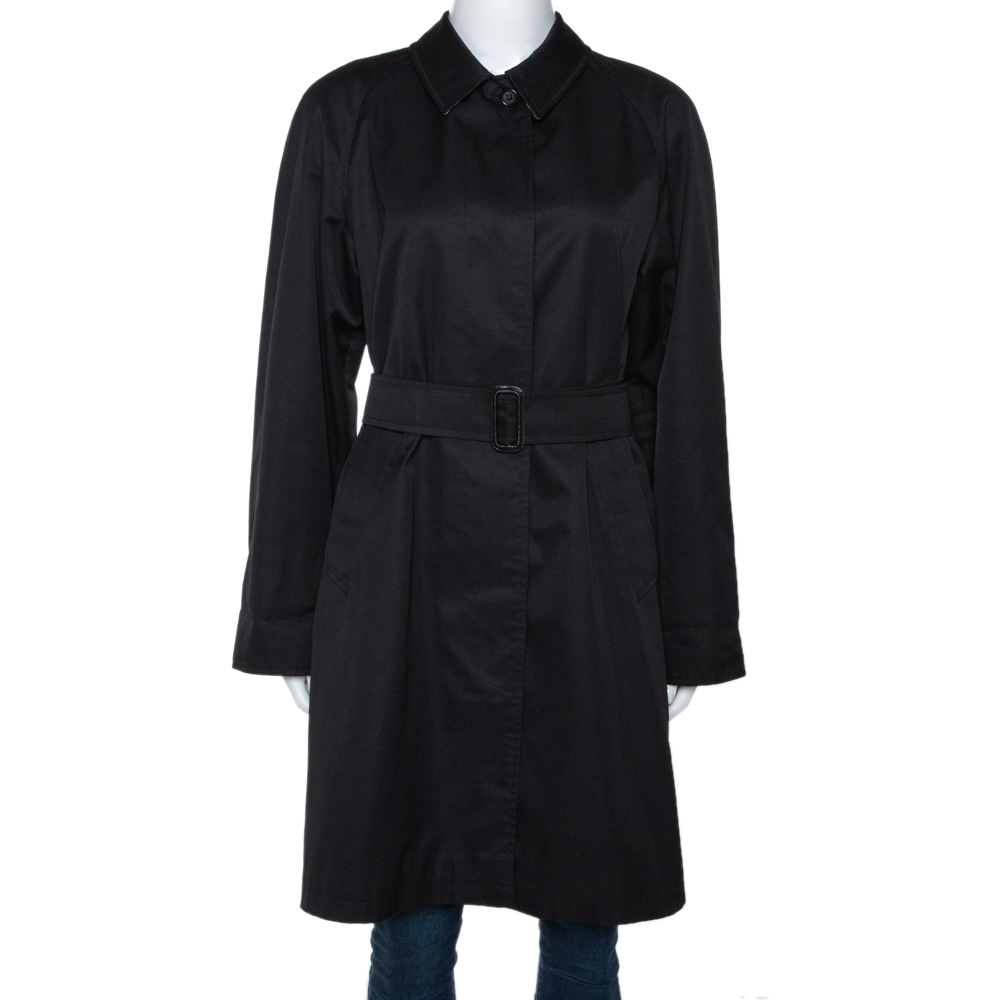 Burberry Black Cotton Blend Raglan Sleeve Belted Car Coat S