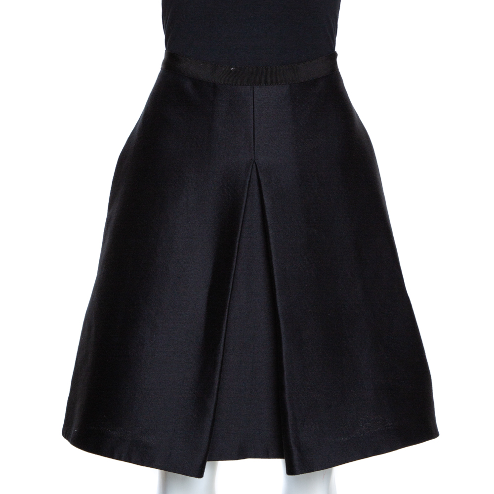 Burberry Black Wool Box Pleated A Line Skirt S