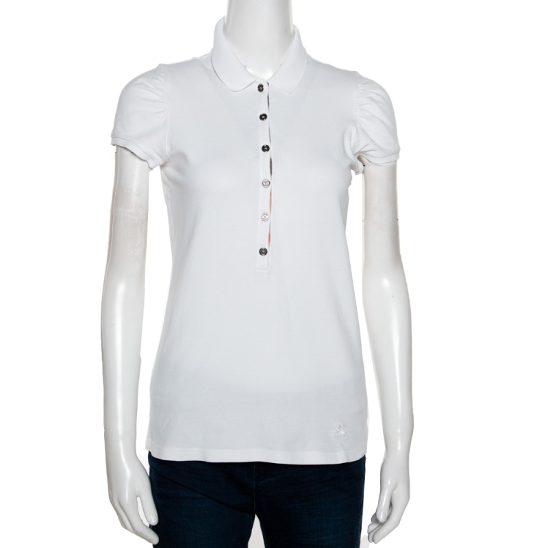 Burberry Brit White Cotton Pique Puff Sleeve Polo T-Shirt M