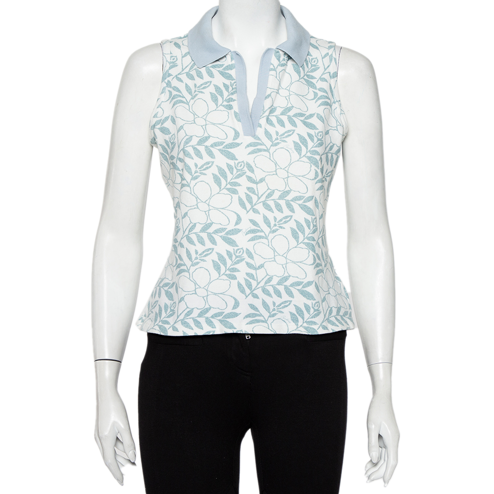 Pre-owned Burberry White Floral Printed Cotton Pique Sleeveless Polo T-shirt L