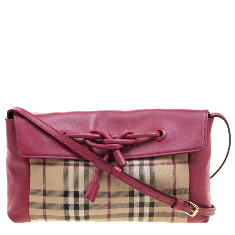 545069dc0440 ... Burberry Pink Haymarket Check PVC and Leather Crossbody Bag. nextprev.  prevnext