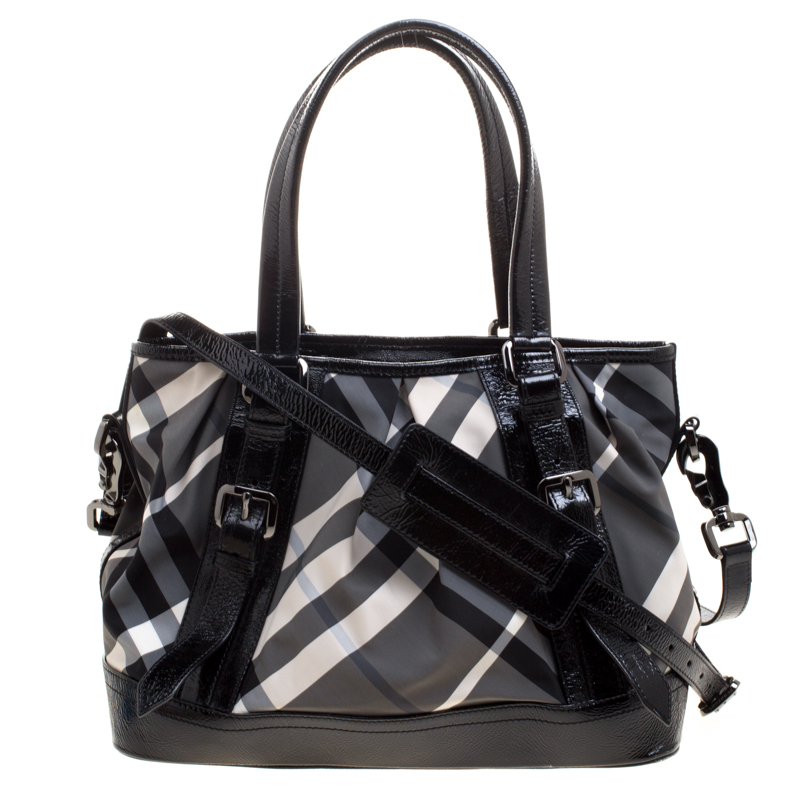 f65b7d8efc Buy Burberry Black Beat Check Nylon and Patent Leather Medium Lowry Tote  116844 at best price | TLC