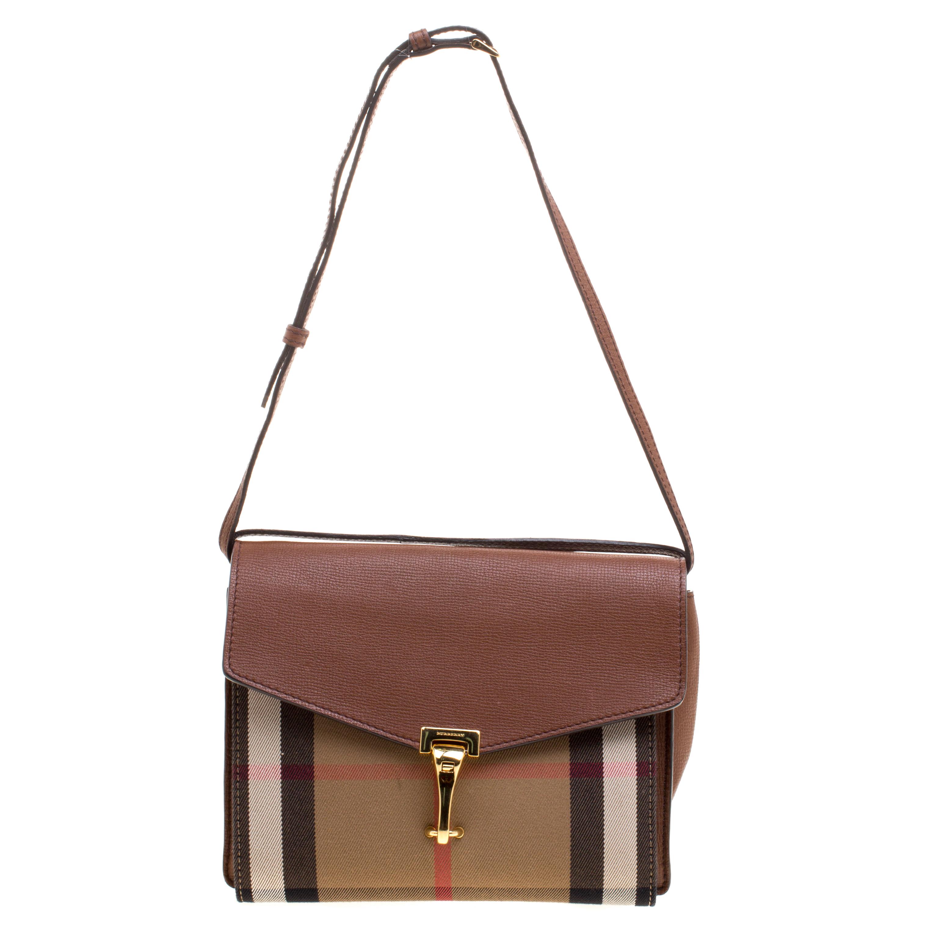 6e0da4d185e Buy Burberry Brown House Check Fabric and Leather Crossbody Bag ...