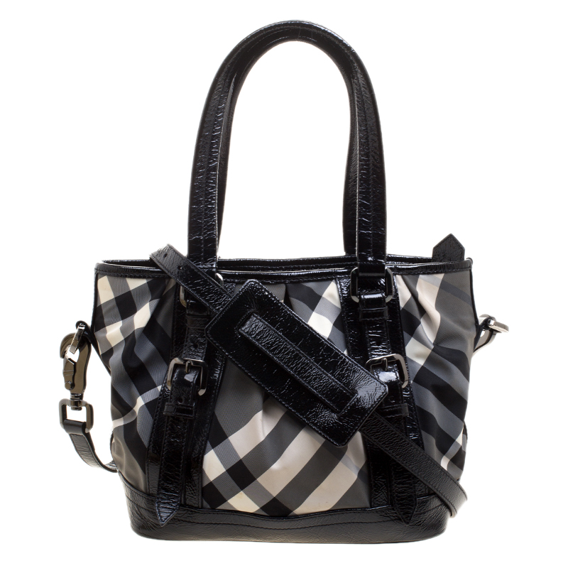 caf7acc844cb8 ... Burberry Black Beat Check Nylon and Patent Leather Small Lowry Tote.  nextprev. prevnext