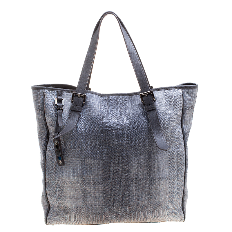 b6ba23188061 Buy Burberry Grey Raffia Shopper Tote 123642 at best price