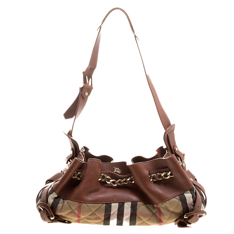 27e1ad75a6c ... Burberry Brown/Beige Leather and Quilted House Check Margaret Shoulder  Bag. nextprev. prevnext