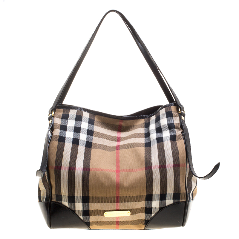 Buy Burberry Black House Check Fabric and Leather Canterbury Tote ... 13dd5a198f51d