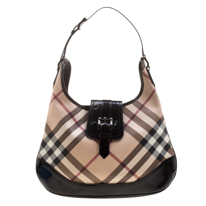 a2f9e3c7bf4e Buy Burberry Black Nova Check PVC Brooke Hobo 124813 at best price