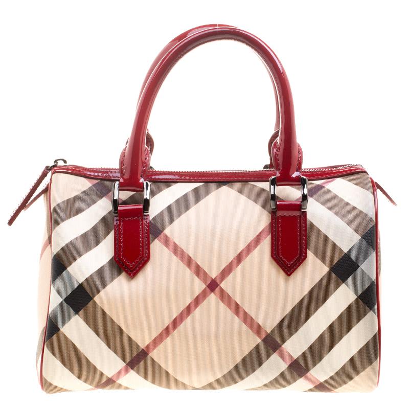 Buy Burberry Red Nova Check PVC Chester Boston Bag 125607 at best ... 72c05d8005586