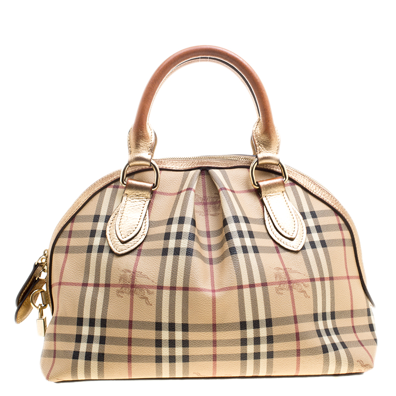 973afd602aa ... Burberry Gold Haymarket Check PVC and Leather Thornley Bowling Bag.  nextprev. prevnext