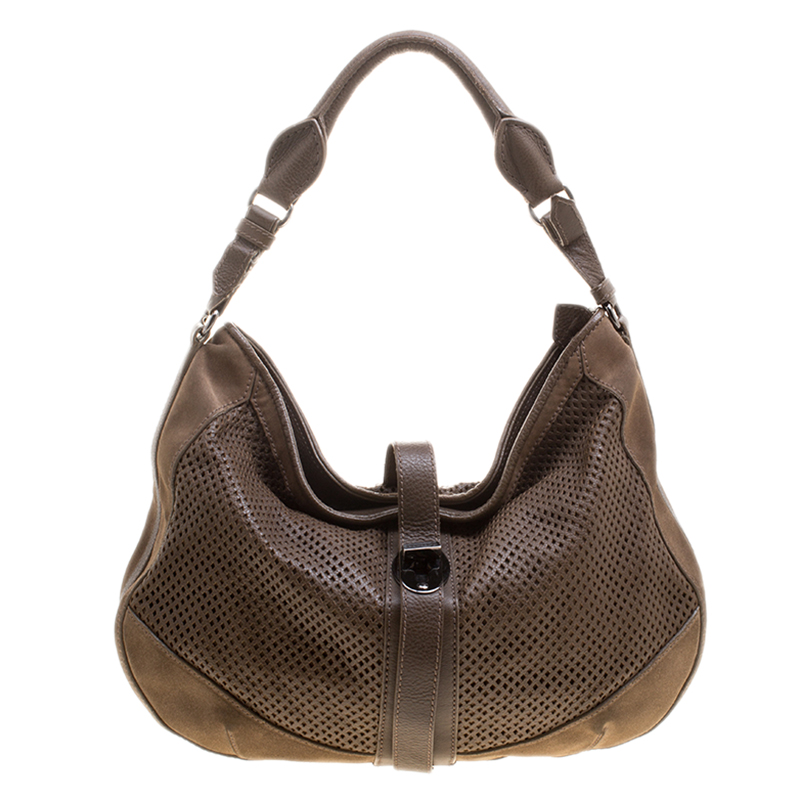 ... Burberry Khaki Perforated Leather and Suede Bartow Hobo. nextprev.  prevnext 9e52f5d2bd07b