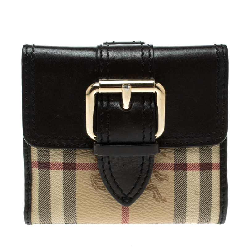e0192c9f5762 ... Burberry Brown Haymarket Check Canvas and Leather Trifold Compact Wallet.  nextprev. prevnext