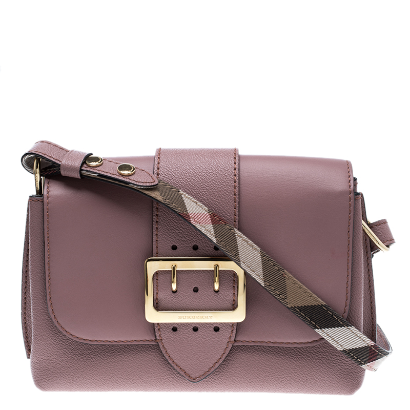 3b5ec11201c Burberry Blush Pink Leather Small Buckle Crossbody Bag