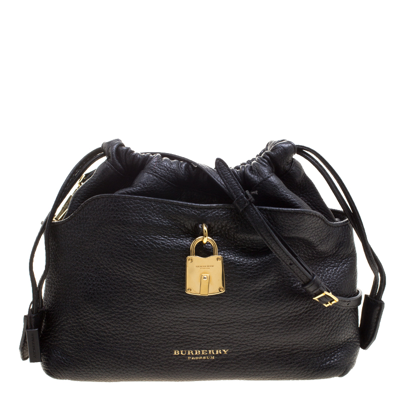 1039f41a ... Burberry Black Leather Drawstring Crossbody Bag. nextprev. prevnext