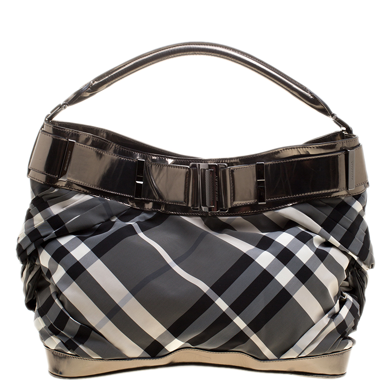 8479deaf9 ... Burberry Metallic Grey Beat Check Nylon and Leather Shoulder Bag.  nextprev. prevnext