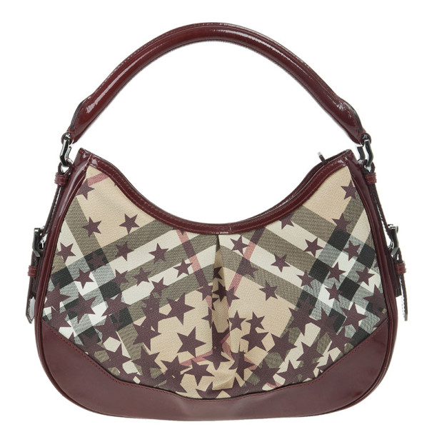 a1cc939069f1 Buy Burberry Nova Check Berry Red Star Small Hernville Hobo 13155 at best  price