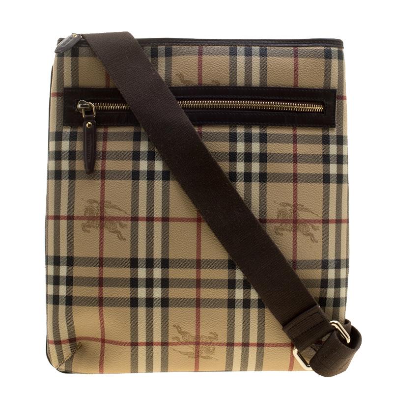 Buy Burberry Beige Brown Haymarket Check Coated Canvas Messenger Bag ... 1d8fb2972