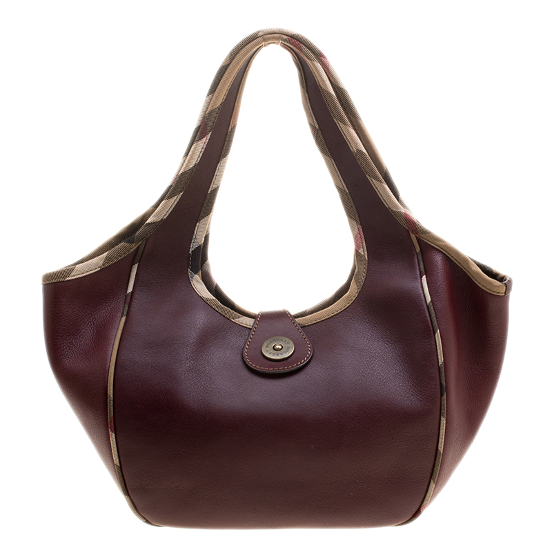 90a77c792eaa Buy Burberry Burgundy Leather Shoulder Bag 134342 at best price