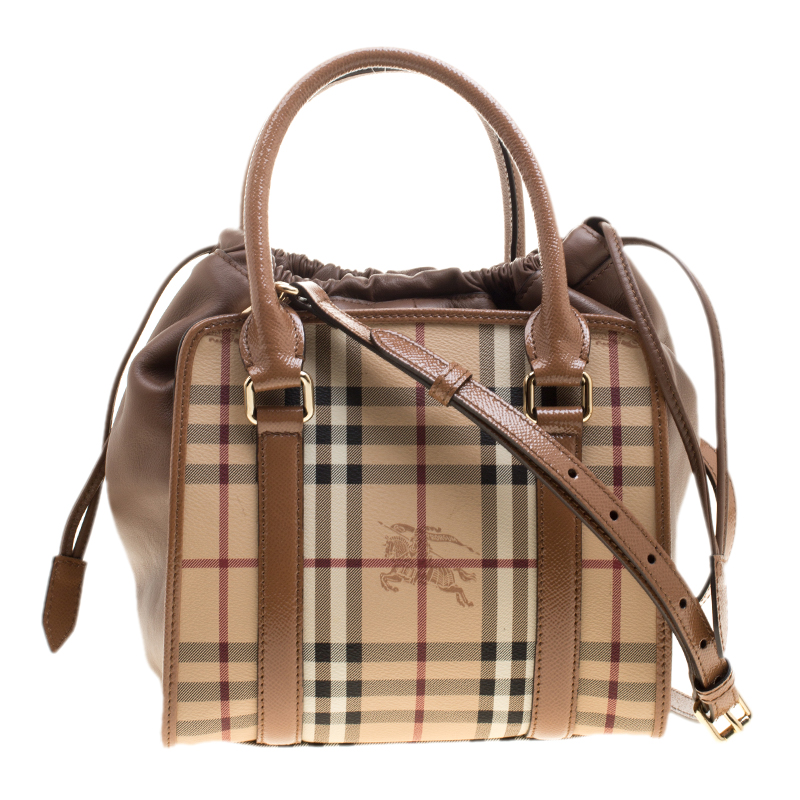 300b8499ccaa ... Burberry Beige Camel Haymarket Check Coated Canvas and Leather Dinton  Small Tote. nextprev. prevnext