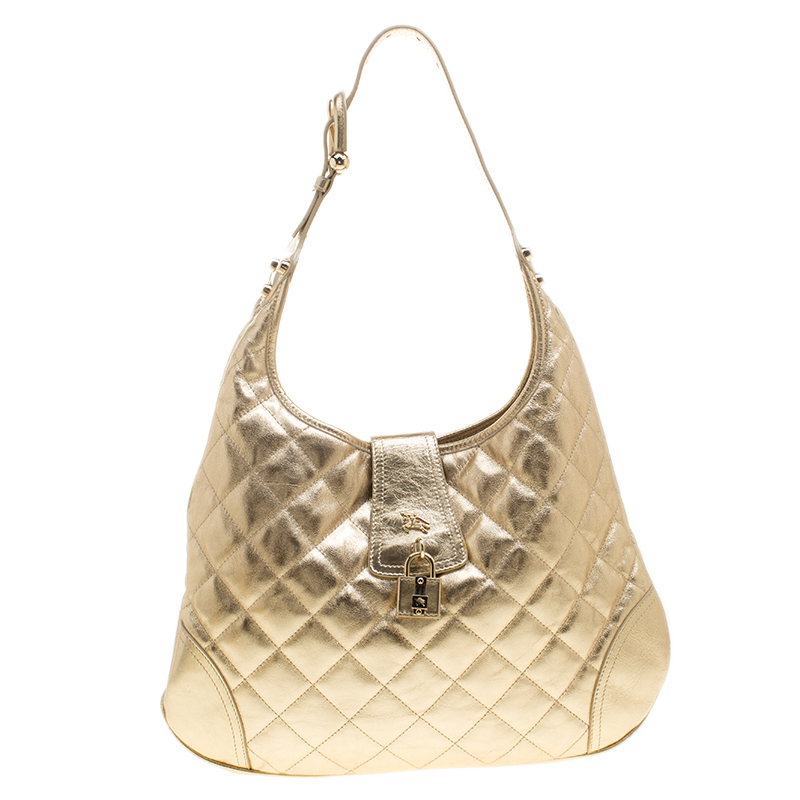 af57762a454c Buy Burberry Gold Quilted Leather Brooke Hobo 138707 at best price