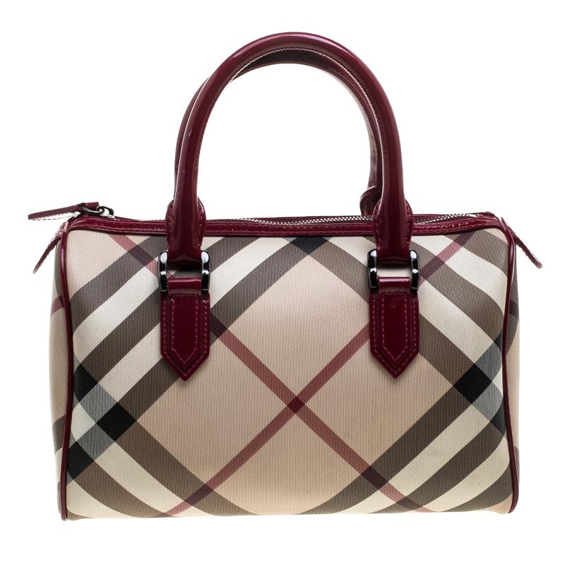 edfdae91744 Buy Burberry Beige/Raspberry Nova Check PVC and Patent Leather ...