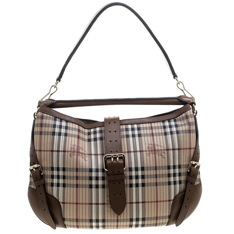 d0744f548ec1 Buy Burberry Beige Brown Haymarket Check PVC and Leather Stitched ...