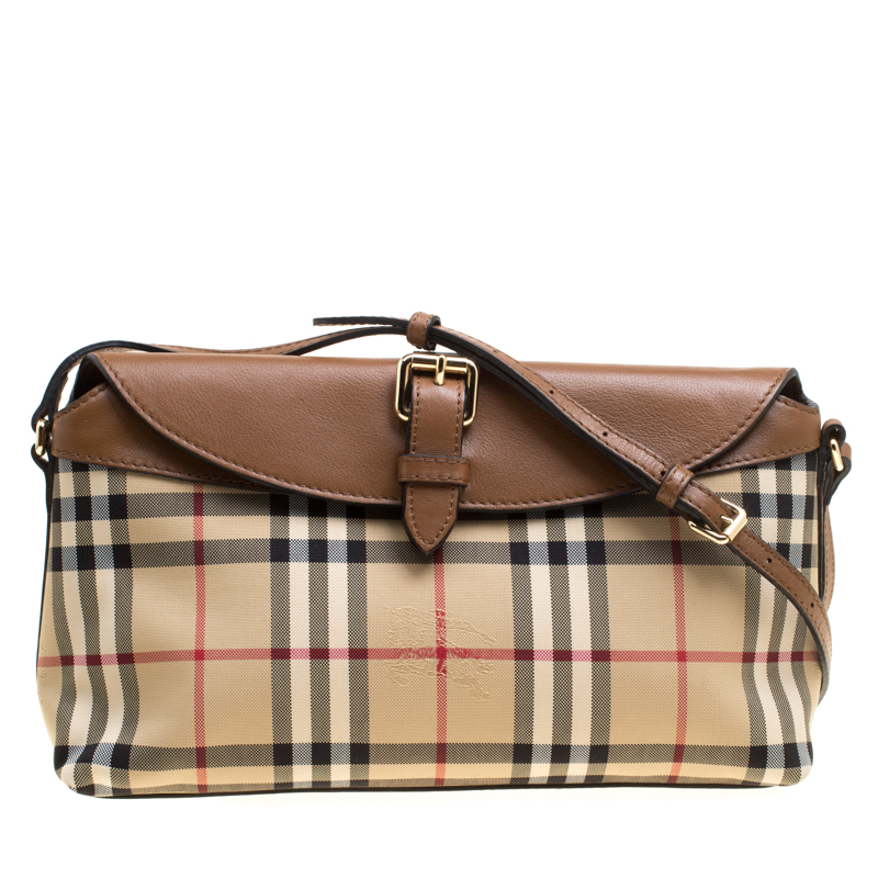 f99661992eb4 ... Burberry Beige Brown Haymarket Check Canvas and Leather Crossbody Bag.  nextprev. prevnext