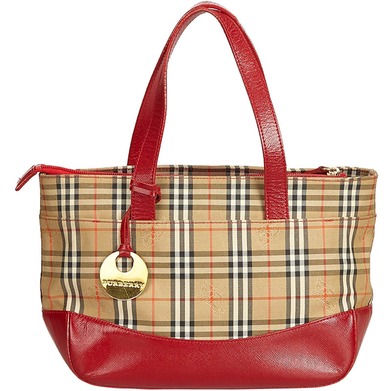 e280bc802c74 Buy Burberry Beige Brown Plaid Canvas Handbag 159446 at best price