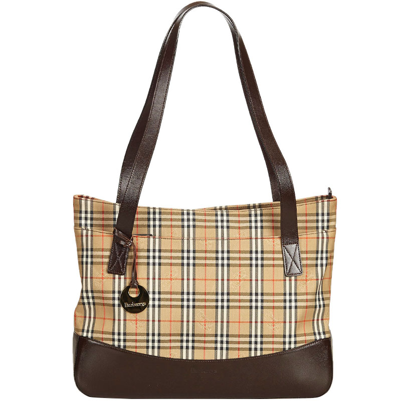 b6782a48206a Buy Burberry Beige Brown Plaid Canvas Tote Bag 160509 at best price ...