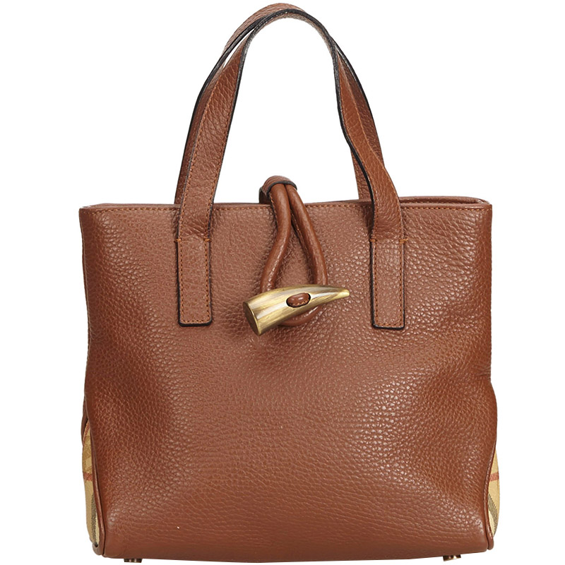 be8d191ca810 Buy Burberry Brown Horn-Toggle Leather Tote 161588 at best price