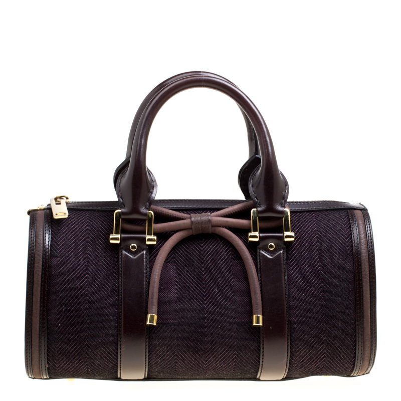 Buy Burberry Purple Canvas and Leather Bow Duffle Bag 162193 at best ... fe4425bed9