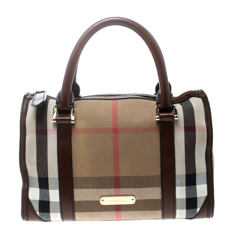 1113294c8de0 Buy Burberry Beige Brown House Check Canvas and Leather Boston Bag ...