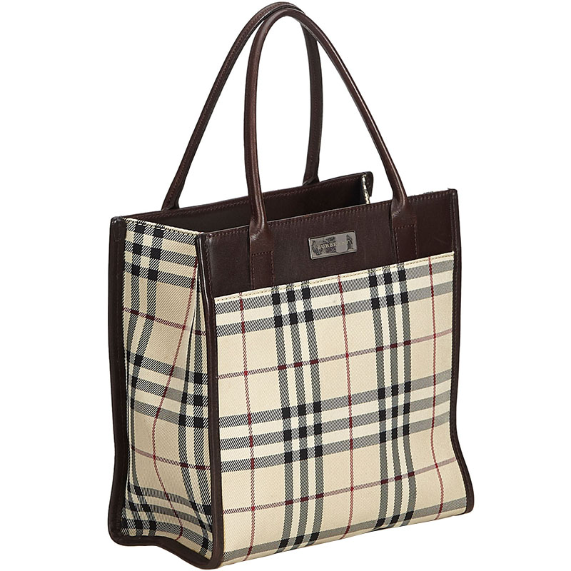 Burberry Brown Plaid Coated Canvas Everyday Bag, Multicolor