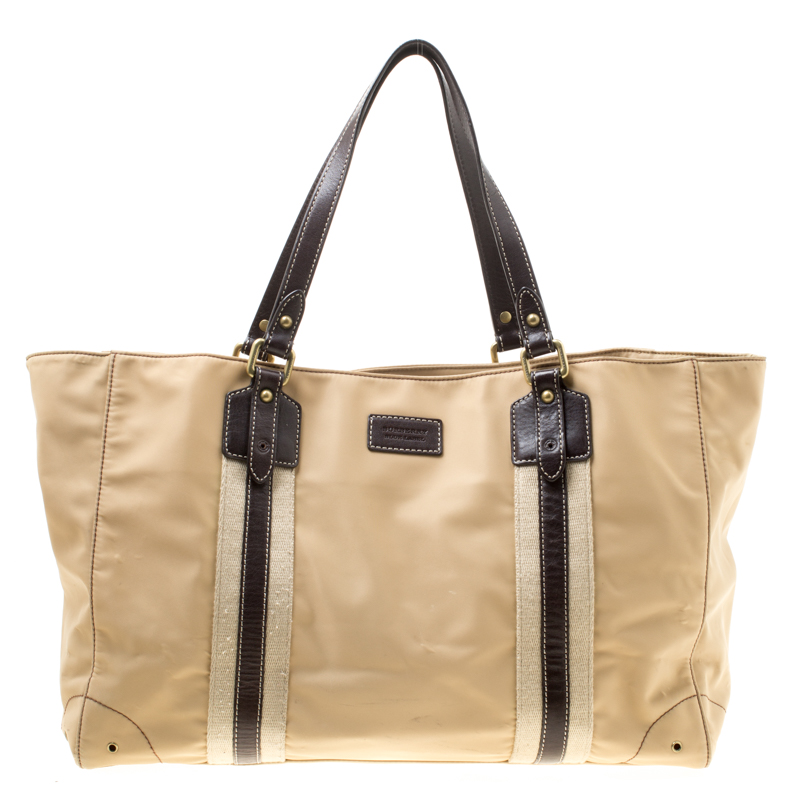 907bd77ca0c2 Buy Burberry Beige Brown Nylon and Leather Tote 178123 at best price ...