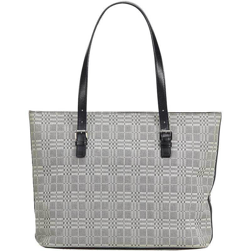 699c3b818a1d Buy Burberry Gray Plaid Jacquard Tote Bag 179489 at best price