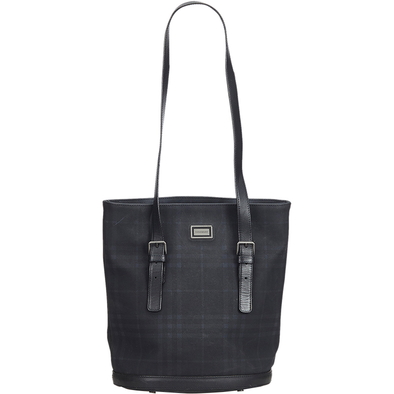 92cd5e8856bb Buy Burberry Black PVC Plaid Tote Bag 181119 at best price