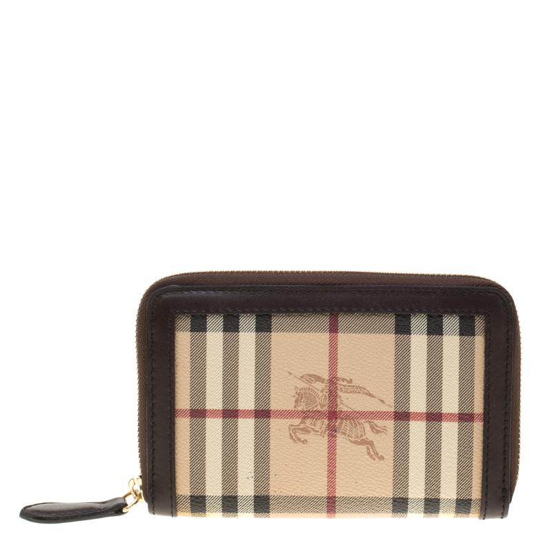 Burberry Dark Brown Coated Canvas Haymarket Check Trim Zip Around Wallet