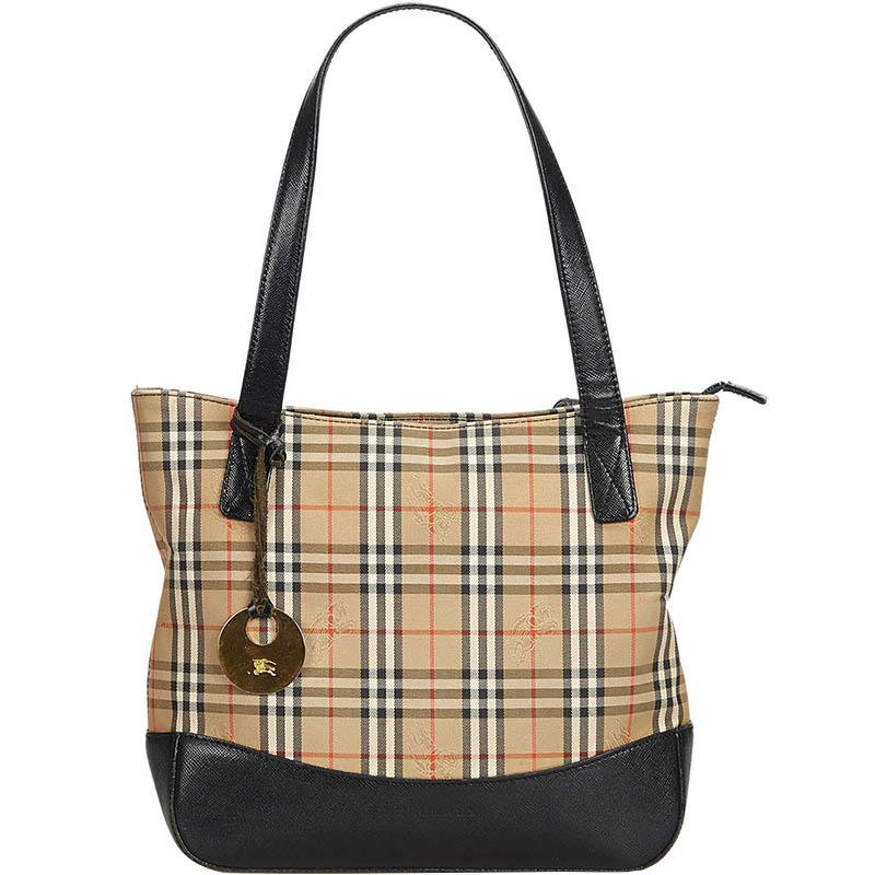 550072a4d015 Buy Burberry Brown Plaid Canvas Tote Bag 184528 at best price